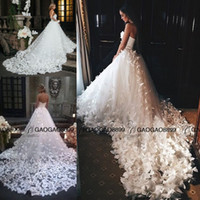 Wholesale white strapless short wedding dress resale online - Speranza Couture Princess Wedding Dresses with Flowers And Butterflies in Cathedral Train Arabic Middle East Church Garden Wedding Gown