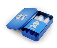 Wholesale Wholesale Cartoon Tin Boxes - Lovely Cartoon Doraemon Cat 7Pcs Set Makeup Brushes with Tin Box Foundation Make Up Brushes K7269
