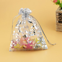 Wholesale Wholesale Printed Organza Gift Bags - Drawstring Organza Jewelry And Accessory Pouch Bag Wedding Party Festival Favor Gift Candy Storage Packaging Printing Gold Rose 13x18cm