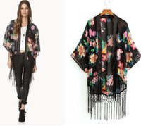 Wholesale New women s European style fringed floral kimono style tassel cardigan chiffon shirt loose coat outwear Blouse with s m l size