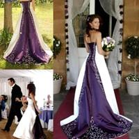 Wholesale Photo Farms - Hot Sale Vestidos De Novia Vintage Wedding Dresses 2016 White And Purple Satin Embroidery Sweep Train Summer Garden Farm Bridal Wedding Gown
