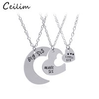 Wholesale New Big Sister - BBF Jewelry Silver & Gold Colors 3Pcs Set Big Sis Middle Sis Little Sis Letter Heart Necklace Brief Gift Fashion New Style Sister Jewelry