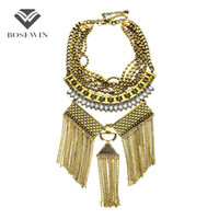Wholesale bijoux tibet online - Fashion Multi Layer Boho Metal Long Tassel Chain DIY Charm Luxury Vintage Maxi Bijoux Crystal Femme Statement Necklace CE4056