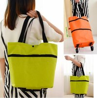 Wholesale Bag For Market - Shopping Bags Foldable Casual Oxford Portable Retractable Bags for Women Market Shopping Bag With Wheel 39cm x31.5cm DHL Free Shipping