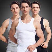 Wholesale Undershirt Men Modal - Wholesale- 100% Cotton Men tank top 2017 high quality Slim sleeveless vest male Undershirt Bodybuilding Singlet Fitness Simple tank tops