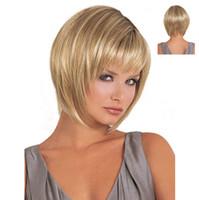 Wholesale Blonde Mixed Kanekalon Wig - 1PC Bobo Wigs White Women European Straight Synthetic Kanekalon Black Women U Part Wig Natural Short Blonde Wig