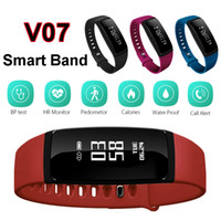 Wholesale Wholesale Wrist Blood Pressure Monitor - Blood Pressure SmartBand V07 Smart Band Bracelet Heart Rate Monitor Wireless Fitness Tracker Pedometer Bluetooth Wristband Watch Smartband