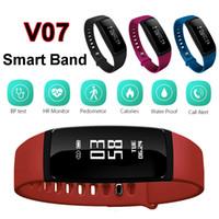 Wholesale Wholesale Wireless Pedometers - Blood Pressure SmartBand V07 Smart Band Bracelet Heart Rate Monitor Wireless Fitness Tracker Pedometer Bluetooth Wristband Watch Smartband