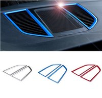 Wholesale Decorative Car Sticker Strips - Car Dashboard Air Conditioning Outlet Decorative Frame Cover Trim ABS Strip Interior Molding 3D Stickers For Porsche Macan