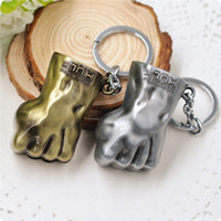 Wholesale Hand Ring Girls - 2016 The Avengers Hulk Fist Keychain Gold And Silver Colors Zinc Alloy Keychain Hand Key Rings Alloy Pendant For Bag As Gift Free DHL