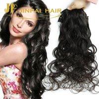 Wholesale Body Wave Hair Extension Clips - peruvian virgin human hair natural black clip in hair extensions 7 pieces with14 clips body wave Braizlian Hair