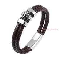"Wholesale Skull Charms 6mm - Fine Stainless steel High Quality Brown leather Biker Skull bracelet Bangle Men Jewelry 8.26"" Length 6mm Width"