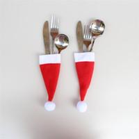 yılbaşı süsü el sanatları toptan satış-Sıcak satış Noel Baba Noel Mini Şapka Kapalı Yemeği Kaşık Forks Süslemeleri Süsler Noel Zanaat Kaynağı Parti Favor Navidad