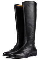 Wholesale Large Size Chunky Heel - Large size mens knee-high boots fashion black genuine leather motorcycle boots work office shoes winter boots men