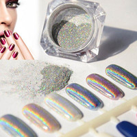 çiviler için payetler toptan satış-Toptan Satış - Toptan-1g Lazer Gümüş Holografik Nails Glitters Toz DIY Nail Art Sequins Krom Pigment Toz Parlak Sihirli Lazer Ayna Toz Nails