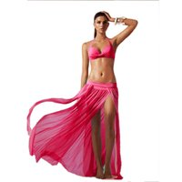Wholesale Bikini Sarong Wrap - Beach Dress Bikini Cover Up Sexy Wrap Women Summer Bathing Swimwear Sarong Skirt 5 Color Fashion 2506034