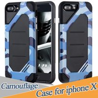 Wholesale Tpu Camouflage Iphone Cases - For IPhone X 8 7 6 Plus 6S Case Samsung Note 8 S7 S6 Edge S8 Plus Camouflage Phone Case TPU+PC Cellphone Cases