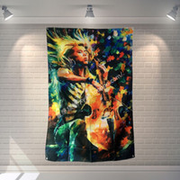 Murals art cello - quot Cello quot Rock Band Poster Scrolls Bar Cafes Restaurant Home Decor Banners oil painting Hanging Art Waterproof Cloth Decoration