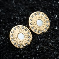 Wholesale Clip Earrings Wholesale Fashion - 2016 Fashion Ladies Jewelry Titanium Silver Gold Stainless Steel Earrings Letter Heart Crystal Wedding Stud Earrings For Women