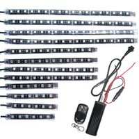Wholesale Led Strip Lights For Motorcycles - 12Pcs Motorcycle LED Light Kit Multi-Color 3 Size Flexible Strips with Remote Controller for Car SUV Truck Bike ATV