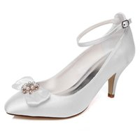 Wholesale Cheap Low Heel Dress Shoes - Handmade Nice Buckle Wedding Shoes Ivory Bridal Shoes Bridesmaid Shoes Banquet Dress Shoes Pumps 6.8cm Large Size Cheap price small Size 35