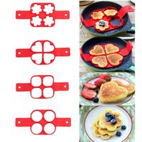 Wholesale Heart Silicone Cake - Non Stick Pan Flip Pancake Maker 4 Cavity Silicone Pancake Egg Molds Breakfast Easy Pancake Egg Maker Heart Flower Round Shape c208