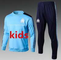 Wholesale Marseille Football Kit - Kids Marseille soccer tracksuit 2017 2018 CABELLA PAYET ANGUISSA GOMIS Survetement football tracksuit sets marseille kid training suits kit
