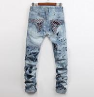 Wholesale European Blue Rhinestones - Men Straight Jeans Classic Denim Trousers 2017 new High Quality Cotton Jeans Fried Snow Slim Jeans Rhinestone Decoration