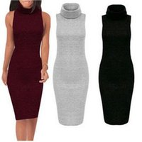 Wholesale Plus Sexy Black Sweater - New products New 2015 Winter Knit Wool Women Dresses Retro Turtleneck Bodycon Sweater Dress Knitting Lady Warm Plus Size Casual Women Clothi