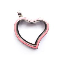 Wholesale Locket Bohemian Enamel - silver 30MM curved heart memory locket with pink enamel , Material: Zinc Alloy , Color: Sliver, MOQ:10 pcs