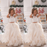 Wholesale New Christmas Kids - 2017 New Lace White Ivory Flower Girls Dresses Sheer Jewel Neck With Sash Ruffles Party Princess Kids Party Birthday Communion Gowns BA2194