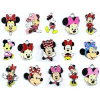 Wholesale Popular Metal Pendant - Wholesale 50 Pcs Popular Mix Cartoon Classic Character Minnie Metal Charm Pendants Jewelry Making Toy Gift