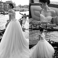 Wholesale Mermaid Tulle Ball Gown - Vintage Inbal dror Lace Wedding Dresses Off Shoulder Appliques Beads Bridal Ball Gowns Floor Length Custom Made Wedding Gown