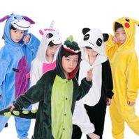 Wholesale Nightgown Kids - Cartoon Kids Pajamas Flannel cartoon animal nightgown Casual Kids Pajamas Kigurumi Unisex Cosplay Animal Costume sleepwear KKA3359