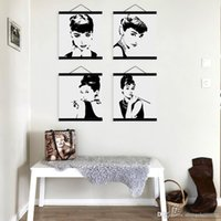 Wholesale Celebrity Wall Art - Mild Art Celebrity Abstract Audrey Hepburn Set Black White Pop Movie Star Portrait Vintage Poster Wall Decor Custom DIY Gift Canvas Painting