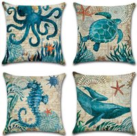 Wholesale Order Sofa Cushions - 45*45cm Cartoon Pillowcase Marine Biological Pillow Sea Turtle Seahorse Whale Octopus Cushion Cover Car Sofa Cushion Cover 4Color 1pcs order