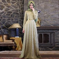 Wholesale Kaftan Dresses Wholesale - Arabic Dress Burgundy Formal Long Sleeve Muslim Evening Dress 2016 Hijab Abaya Moroccan Kaftan Evening Gown Prom Dresses