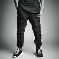 Wholesale Cut Loose Cargo Pants - Wholesale-summer style black mens jeans joggers cool ripped destroyed cargo pants overalls skateboard jogging fashion destruction hip hop