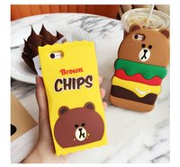3D Lovely Cartoon Brown Bear Chips Bread Case per iPhone SE 5 5S 6 6S Plus French Fries Food Hamburger Cover morbida in silicone