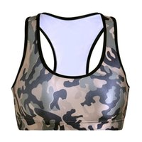 Wholesale Sport T Shirt Camo - Europe Fashion Yoga T-shirt Fitness Slim Vest Push Up Stretch Sport Bras Y-Strap Aerobics Sleeveless Garment Camo Colorful Tank Tops LNSsb