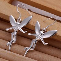 Wholesale Dangle Chandelier Sterling Silver - Hot sale women's sterling silver Hanging Angel earring SDSE193,fashion wholesale 925 silver Dangle Chandelier earrings best gift