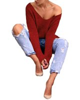Wholesale Ladies Lace Long Sleeved Tops - New Fashion 2016 Autumn Sexy Ladies Pullover Sweater V-neck Long Sleeved Solid Bluose Knitted Tops Blouses Shirt Sweaters