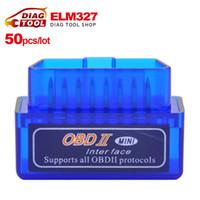 Wholesale Obd2 Elm327 Bluetooth Adapters - Wholesale-[50pcs lot]DHL Free Mini V2.1 ELM327 OBD2 Bluetooth Auto Scanner obd2 bluetooth adapter diagnostic-tool ELM 327 Diagnostic Tool