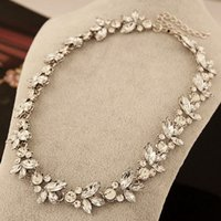 Wholesale austria flower pendant for sale - Group buy Retro Full Austria Crystal Rhinestone Choker Necklaces Women Short Chain Flower Pendant Necklace Statement Collares Mujer Christams Gift