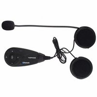 Wholesale Intercom Walkie Talkie Headsets - Hot Bluetooth Interphone Motorcycle Helmet BT Intercom Stereo FM Radio Headset 5 Riders 1200m Walkie Talkie F4439A