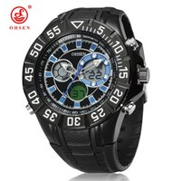 Wholesale Ohsen Waterproof Sports Men - OHSEN Digital Quartz Sport Military Man Male Watch Wristwatch Blue Fashion 30M Waterproof Hand Clock Relogio Masculino Running Watches Gift