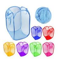 malla plegable al por mayor-Bolsa de almacenamiento de lavandería de malla de ropa sucia plegable Fácil de llevar cestas de nylon de ventilación completa para el hogar 2 56kq B