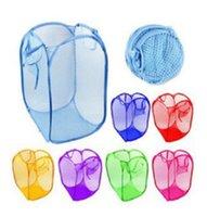 naylon çanta taşımak toptan satış-Katlanabilir Kirli Giysiler Sepet Örgü Çamaşır Saklama Çantası Taşıması Kolay Tam Havalandırma Naylon Sepetleri Ev Için 2 56kq B