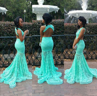 bodenlange abschlussballkleid minze großhandel-Mint Green Full Lace Mermaid Brautkleider Tiefem V-Ausschnitt Backless Bodenlangen Abendkleider Red Carpet Celebrity Runaway Kleider