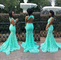 zemin uzunluğu balo elbisesi nane toptan satış-Nane Yeşil Tam Dantel Mermaid Gelinlik Derin V Boyun Backless Kat Uzunluk Örgün Abiye Kırmızı Halı Ünlü Runaway Elbiseler